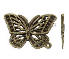 Free Shipping New Alloy Butterfly Pendants Beads DIY Craft Jewelry Accessories Fits Dora Style Charms Pendants(China)