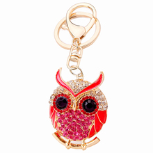 Creative Crystal Animal Olive Owl Keychain Bag Key Chain Ring Holder For Women Purse Charm Gift Novelty Keyfobs Pendant R136(China)