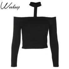 Buy Weekeep Sexy Cropped Slash Neck Halter T shirt Women Long Black Sleeve t-shirt Spring Shoulder Tops Women Crop Top