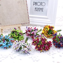 2016 new 10pcs Artificial Bud Stamen Berry Bacca Flower For Wedding Decoration DIY Scrapbooking Decorative Artificial flowers