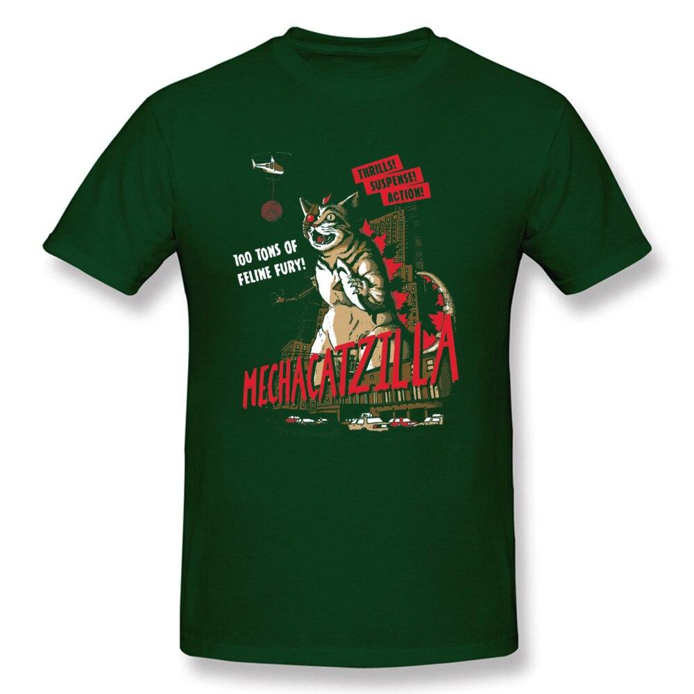 Normal Mecha Catzilla V2 23216 Short Sleeve Lovers Day Tops & Tees Newest Crewneck Cotton Fabric Tops Shirt Men Tshirts Mecha Catzilla V2 23216 dark