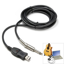 Factory Wholesale High Quality Guitar Bass 1/4'' 6.3mm To USB Link Connection Instrument Cable Adapter 3M SS