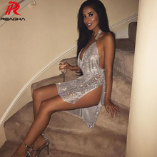 Buy Sexy Metal Crystal Diamonds Chain Women Luxury Party Dresses Gold Silver Summer Halter Sequins Night Club Dress Vesitos 2018 New