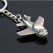 3.3x36cm Key Chain Plated Copper/Bronze/Rhodium US Airlines Model  Boeing Plane Model Key Ring Air Plane Keychain