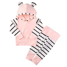 2016 Cute Infant Newborn Baby Girl Clothes 3D Hoodie Tops T-shirt Cotton Striped Pants 2pcs Outfit Bebes Clothing Set Tracksuit(China)