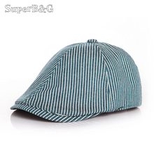 Cool!! British Style Beret Hats Children Striped Classic Flat Caps Kids Unisex Baby Casual Summer Sun Hat For Boys/Girls Caps(China)