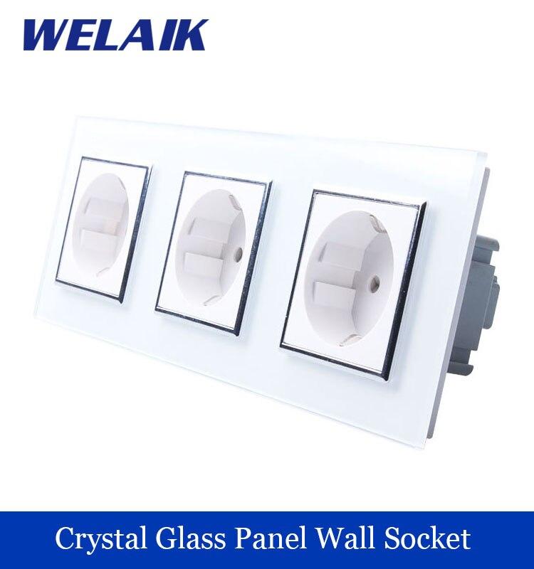 WELAIK 3Frame Wall power Socket EU Standard   Crystal Glass Panel AC 110~250V 16A 222*80mm Wall Socket A38E8E8EW/B<br><br>Aliexpress