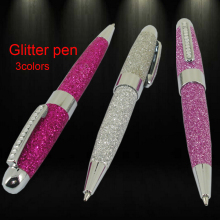 Fashion Cute Ballpoint Pen with Crystal PU leather Glitter Ball Pens 3colors for Lady Birthday Gifts School Students Writing Pen