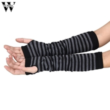 Amazing Women Ladies Knitted Elbow Length Winter Fingerless Gloves Stripe Mitten Christmas Gifts(China)