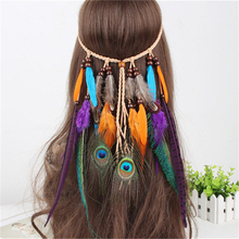 2017 New Fashion Hair Band Indian Peacock Feather Pendant Headband Leaves Rope Knitted Belt Elastic Hairwear(China)