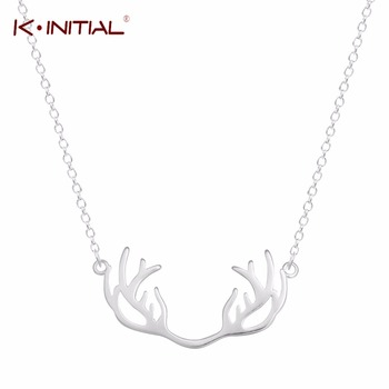 1Pcs Fashion 925 Silver Deer Antler Necklace Unique Animal Minimalist Horn Chock Jewelry For Women Cute Party Pendants Necklaces