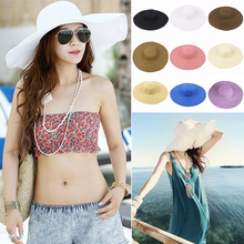 Summer Sun Hats Women Lady Wide Large Brim Floppy Beach Folding Sun Protection Ultraviolet-proof Solid Straw Caps WS523