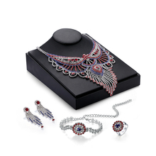 Wedding Women Rhinestones Red Crystal Jewelry Sets Bridal Party Accessories  Necklace  Beads Jewerly Sets P19