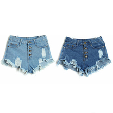 2017 Summer Cheap Clothes Women Denim Shorts High Waist Vintage Washed Shorts Hole Thin Pure Cotton Lady Slim Shorts Multi-color(China)