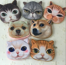 NEW Popular 7Animals , Kitty Cat and Dogs Plush Coin Purse , Gift 10CM Coin BAG Purse , Pocket Coin Wallet BAG , Keychain BAG(China)