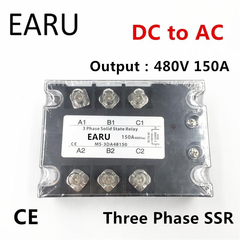 TSR-150DA SSR-150DA Three Phase Solid State Relay DC 5-32V Input Control AC 90~480V Output Load 150A 3 Phase SSR Power DA48150<br>