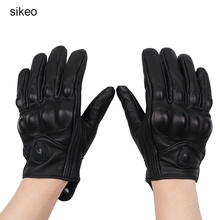sikeo Leather Summer Winter Full Finger Motorcycle Gloves Cycling bike Motorbike Protective Gears Motocross Glove(China)