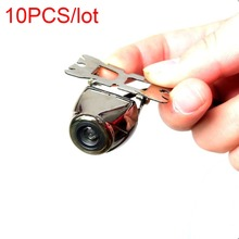 10pcs free shipping Car Rear View Cam Stainless Waterproof Chrome Silver Metal SurfaceWide Viewing Angle Mirrored Image