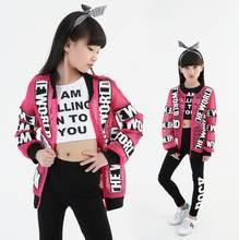 Moda niños Jazz Dance ropa 3 unids suit Niñas street dance hip hop danza  trajes niños ropa de rendimiento sets d6cc4f3246c