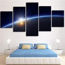Modern Painting Modular Wall Pictures Poster Frame 5 Panel Light Around Surface Of Earth Landscape Canvas Art Home Decor PENGDA(China)