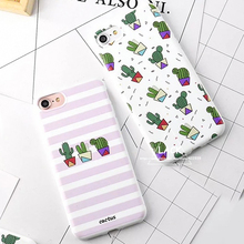 LACK Fashion Cartoon Plants Cactus Case For iphone 7 Case Funny Zebra Stripe Back Cover Phone Cases For iphone 7 Plus Capa Funda(China)
