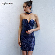 Joyfunear Womens Summer Sleeveless V-Neck Backless Strap Sexy Party Mini Dress Sequined Slim Casual Short Dresses for wholesale(China)