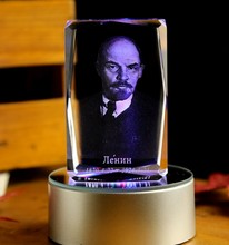 Christmas novel Unique best gift # Lenin great leader Russia 3D crystal art--BEST business NEW YEAR present with box(China)