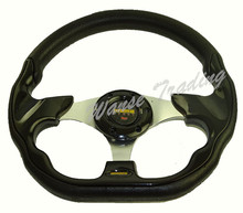 Sale Universal 320mm PU Leather Racing Sports Auto Car Steering Wheel with Horn Button 12.5 inches Black