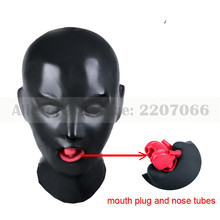 Buy 1mm 3D latex human hood mask closed eyes fetish hood red mouth sheath tongue nose tube RLM169