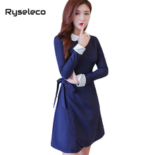 Ryseleco Women High Fashion Quality Fall Winter Irregular Wrapped Ties Basic Dresses OL Casual Formal Patches Peter Pan Collar(China)
