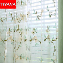 Sheer Curtain Embroidered Yarn Curtains Kitchen Living Room Bedroom Tulle Window Treatment Curtains Tulle for Windows wp361&20