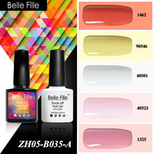 Belle Fille Color Sapphire Ruby Rose Red Peach UV Gel Polish Led Coat Nail Art Varnish Gel Lak Nail Gel Polish Camouflage Nail(China)
