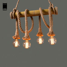 Bamboo Tube Hemp Rope Bulb Pendant Light Fixture Retro Rustic Loft Vintage Industrial Country Lustre Avize Luminaria Dining Room