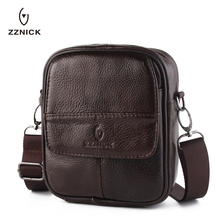 ZZNICK New 100%Genuine Leather Male Bags Vintage Men Messenger Bags Casual Men's Cross Body Shoulder Bag Men's Travel Small Bag