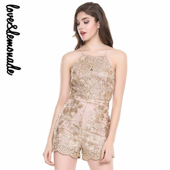 Love&Lemonade Cut Out Lace Halter Playsuit gold/black/red TB 10008
