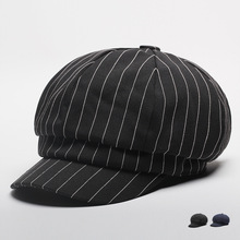 2017 Adult Autumn And Winter Store Striped Cap Woman Fashion Octagonal Hat Men Casual Cotton Beret Caps(China)