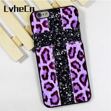 LvheCn phone case cover fit for iPhone 4 4s 5 5s 5c SE 6 6s 7 8 plus X ipod touch 4 5 6 Bling Leopard Cross Purple Print(China)
