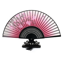 Free Shipping Wholesale 100pcs/lot Traditional Chinese Realistic Painting Blossom Bamboo Silk Folding Fan Summer Party Supplies