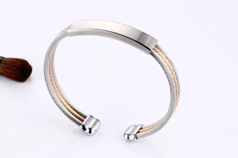 Free engraving Men Women Bracelets Stainless Steel Triple Color Cable Wire Twisted ID Tag  Open Cuff Bangle Bracelet Men Fashion Jewelry pulseira masculina SILVER 16