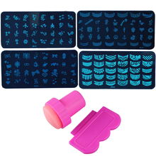 4 Small Printing Plate + Scraper + Seal Single Head Set Nail Art Stamp Stamping Plate Polish Decoration