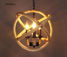 personality hemp rope round lamps Retro industry style pendant light  nostalgic vintage pendant light preparation ZZP