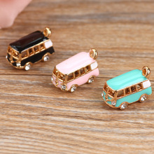 MRHUANG 5PCS Lucky Happiness Bus Enamel Pendant Charms Gold Tone Oil Drop DIY Bracelet Floating Charms