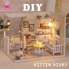 UCanaan Doll House DIY Miniature Dollhouse Furniture Dust Cover 3D Wooden Miniaturas Dollhouse Toys for Children Birthday Gifts