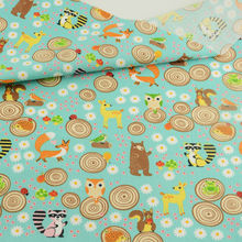 Cartoon Animals and Flowers Design Sewing Tissu Blue Cotton Fabric Pre-cut Fat Quarter Quilting Fabric Tecido for Garment Dress