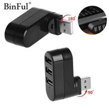 BinFul Rotatable High Speed 3 Ports USB HUB 2.0 USB Splitter Adapter for Notebook/Tablet Computer PC Peripherals(China)