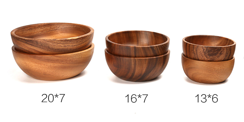 Hand-made Solid Wood Bowl Large Small Round Wooden Bowls Salad Soup Dining Serving Bowls Plate Wooden Kitchen Utensils Tableware (6)