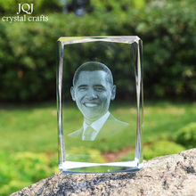 Crystal Glass Cube Crafts Miniature 3D Laser Engraved Famous Leader Home Decor Gifts Office Ornaments