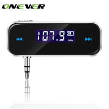 Onever Mini Wireless  In-car Transmitter Car mp3 Transmitter 3.5mm Music Audio FM Transmitter For iPhone 7 8 8Plus Samsung iPad