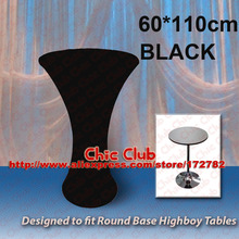 60*110cm Black Stretch Cocktail Poseur Dry Bar Spandex Table Cover for Round Base highboy tables Cloth Wedding Event