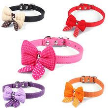 Cute Polka Dots Knit Bowknot Adjustable PU Leather Dog Puppy Pet Collars Necklace XS S M Chihuahua Yorkie Maltese Pomeranian